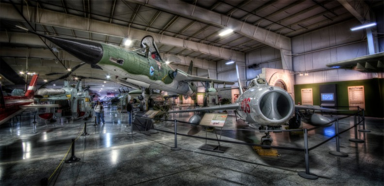 The F-105 and MiG-15 display next to the new Vietnam War exhibit.