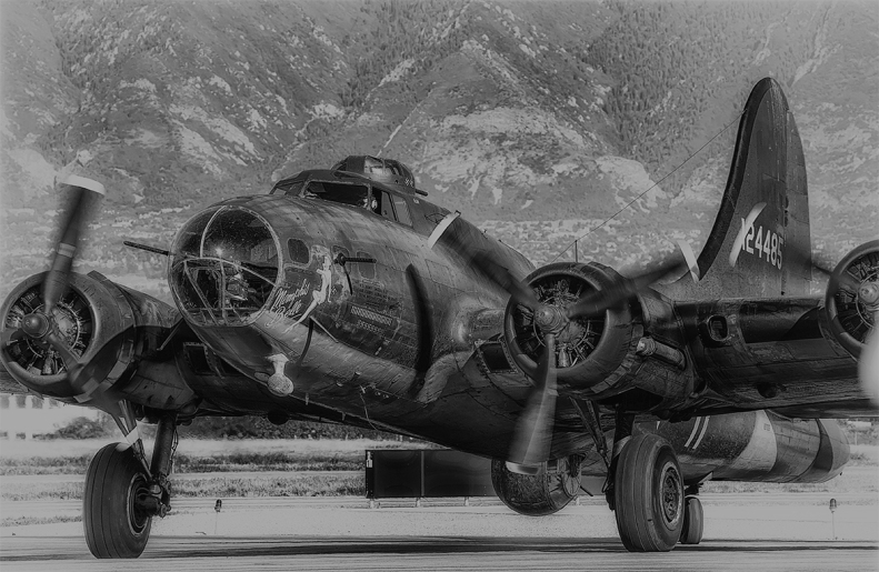 Memphis Belle_Taxiing-closeup-mtns in background1-BW